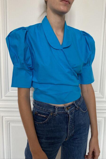 READY TO SHIP - ANITA turquoise blue cotton blouse - MaisonCléo