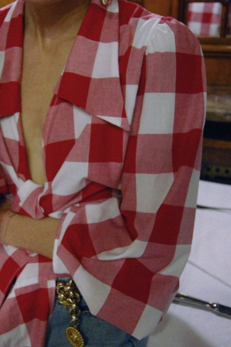 Ready to ship - JULIE RED CHECKED BLOUSE - MaisonCléo