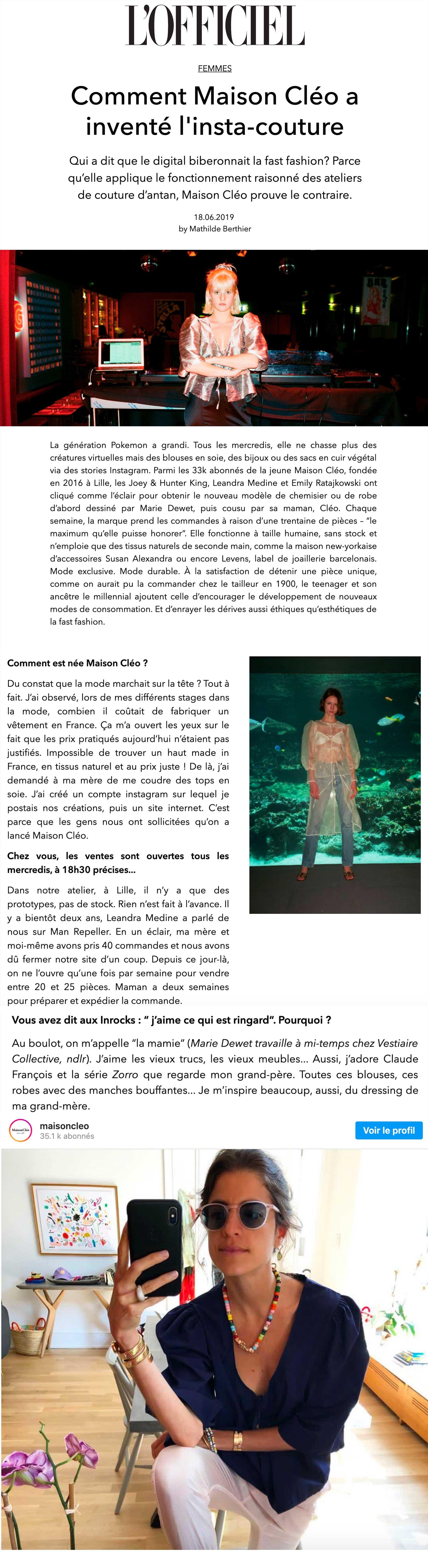 l'officiel / MaisonCléo