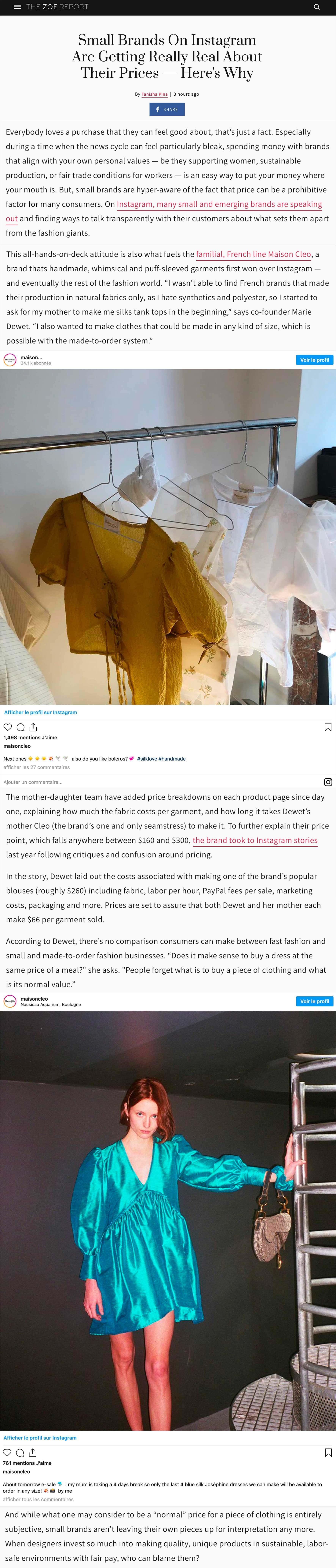 zoe report / MaisonCléo