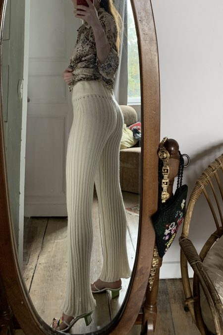 TERESA knitted off-white wool trousers - MaisonCléo