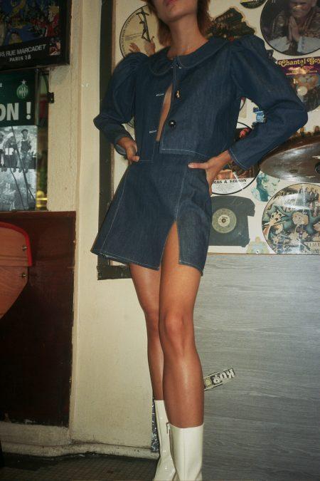 READY TO SHIP - Mini jupe en jean SOPHIA - MaisonCléo