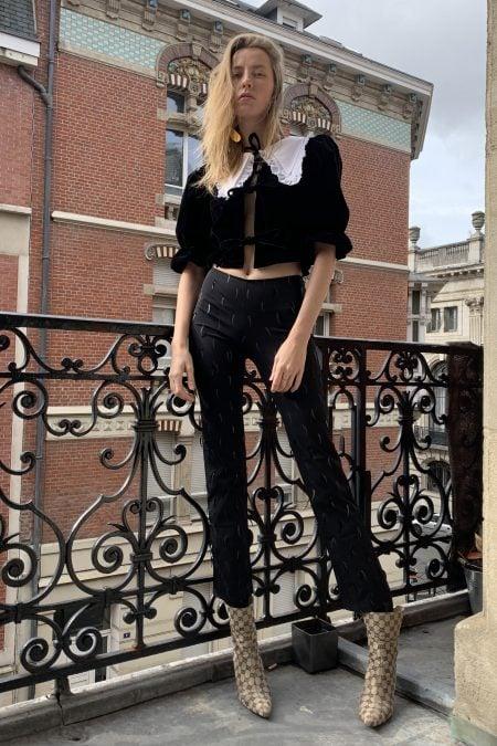 READY TO SHIP - ANGELE black velvet cotton blouse - MaisonCléo