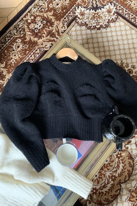 "TATIANA knitted black ""boobs"" sweater - MaisonCléo"