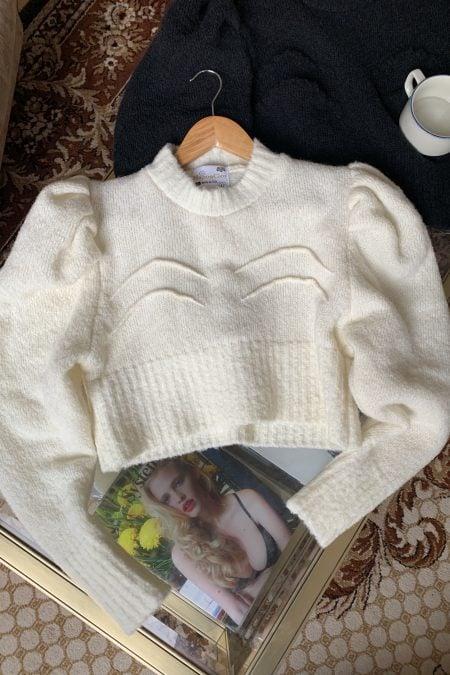 "TATIANA knitted ecru ""boobs"" sweater - MaisonCléo"
