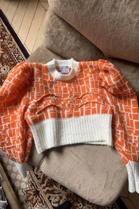 "TATIANA knitted orange ""boobs"" sweater - MaisonCléo"