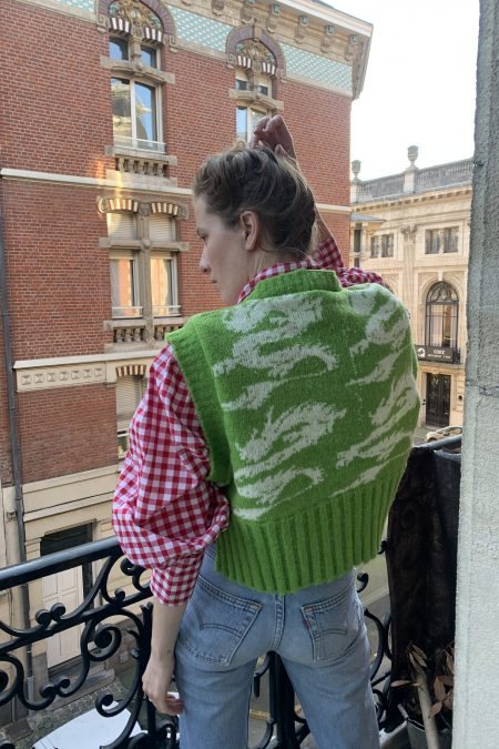 DRAGON knitted oversize wool vest - MaisonCléo