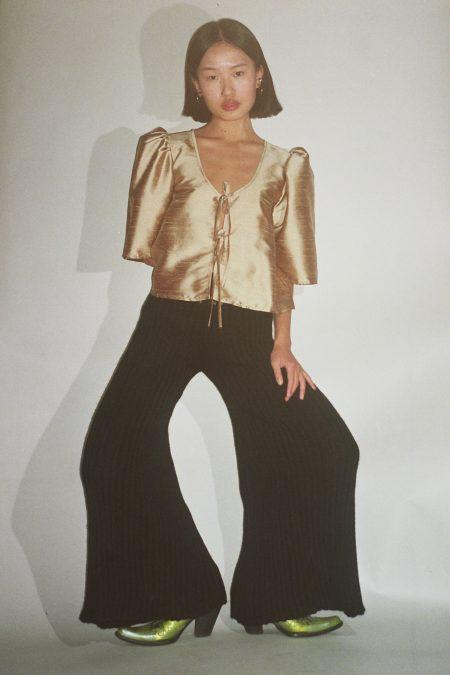 Pantalon en maille côtelées flare noir TERESA - MaisonCléo