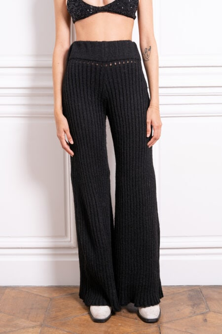 TERESA knitted black flare large trousers - MaisonCléo