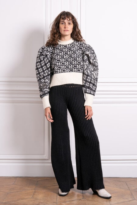 READY TO SHIP - MC tartan roses knitted wool sweater - MaisonCléo
