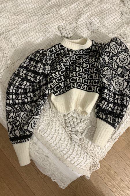MC tartan roses knitted wool sweater - MaisonCléo