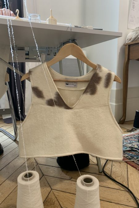 Cardigan en laine vache et écrue JULIA - MaisonCléo