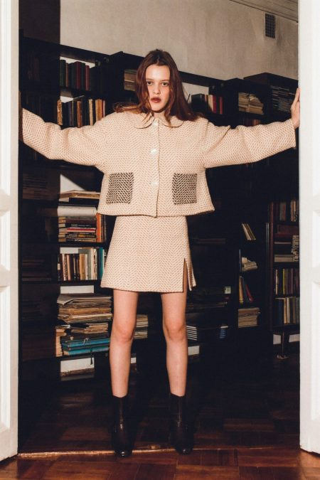 READY TO SHIP - Mini jupe en laine SOPHIA marron clair et ecru - MaisonCléo