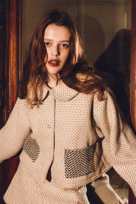 ESTELLE light brown wool JACKET - MaisonCléo