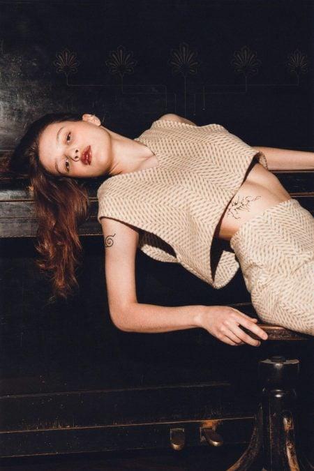 YASHA light brown wool cardigan - MaisonCléo