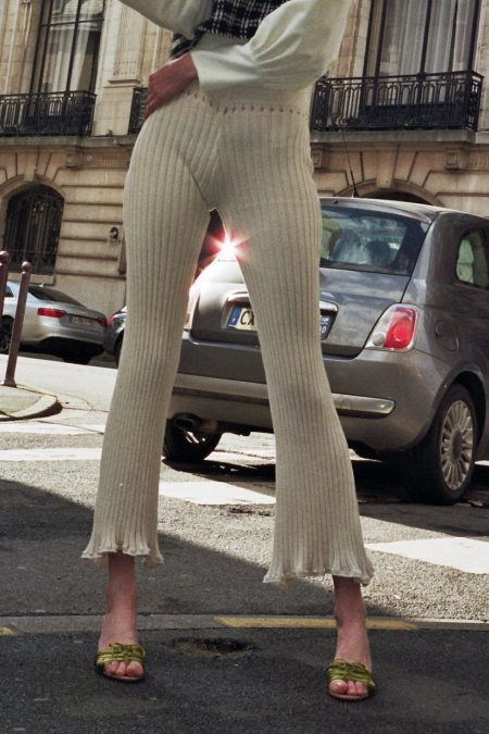 TERESA knitted off-white organic cotton trousers - MaisonCléo