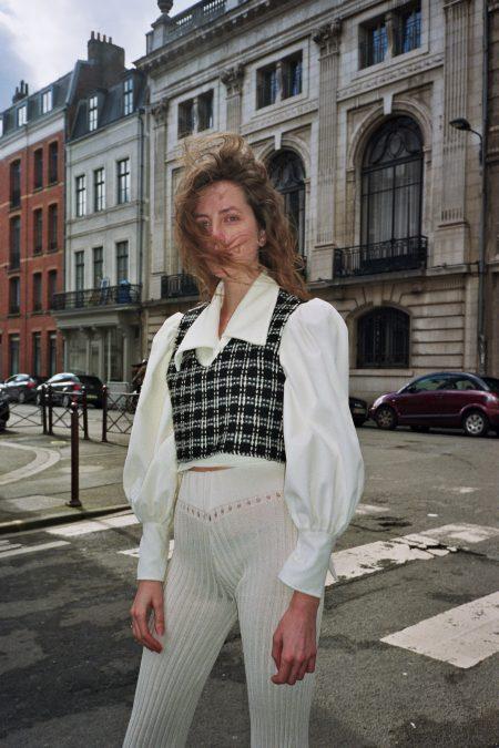 LULU black and white wool cardigan - MaisonCléo