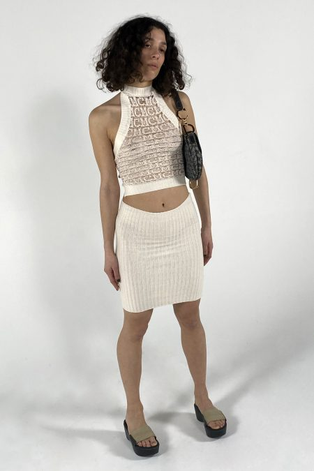 PABLA midi-length knitted ecru skirt - MaisonCléo