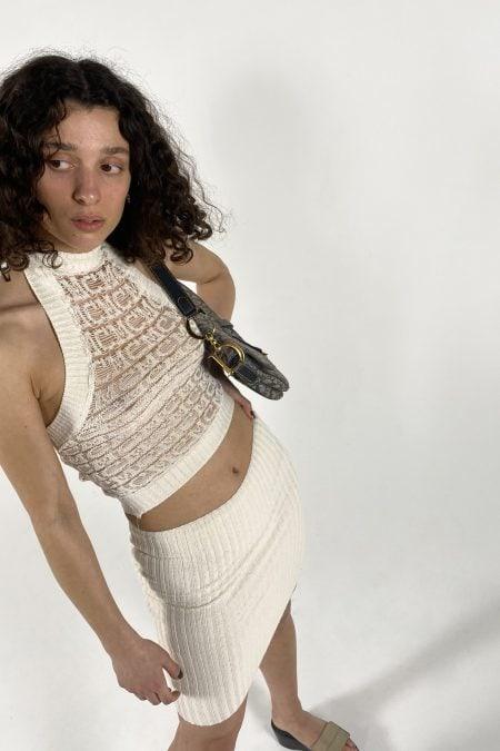 KHENARY MC LOGO knitted ecru halter top - MaisonCléo