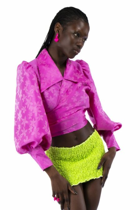 JULIE flowers neon pink tone to tone organza silk blouse - MaisonCléo