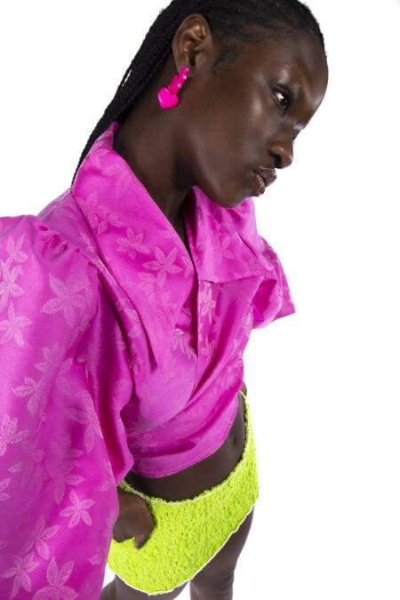 Blouse fleurs Julie en organza de soie rose vif ton sur ton - MaisonCléo