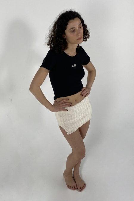 2 IN 1 LOUISA knitted slit ecru bustier/skirt - MaisonCléo