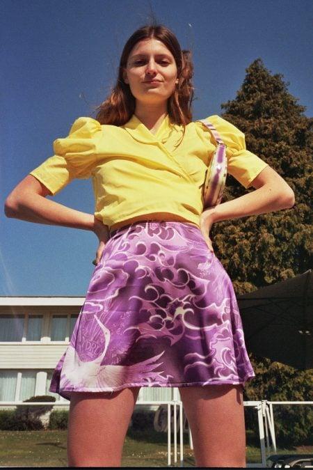 LILY tattoo tribal purple silk skirt - MaisonCléo