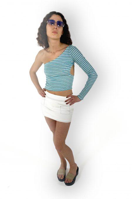 READY TO SHIP - top TANIA en jersey turquoise à sequins et manches longues - MaisonCléo