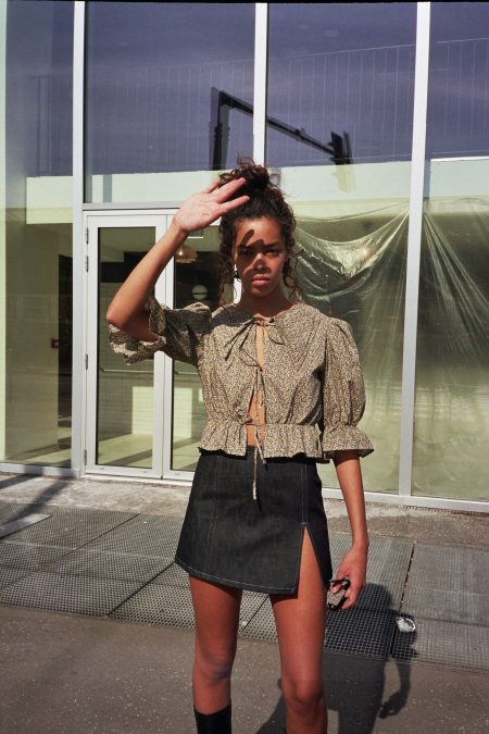 ANGELE brown and yellow light cotton blouse - MaisonCléo