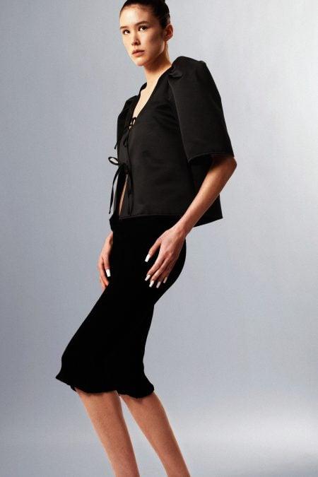 READY TO SHIP - AGNÈS black duchesse silk blouse - MaisonCléo