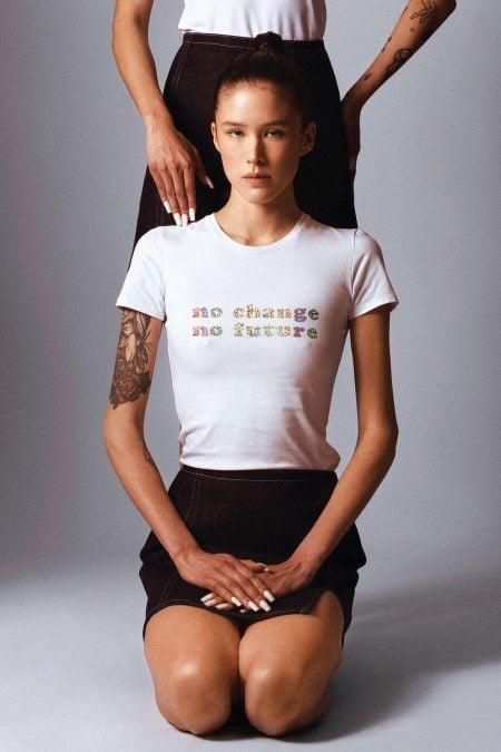 No Change No Future silver glitter t-shirt - MaisonCléo