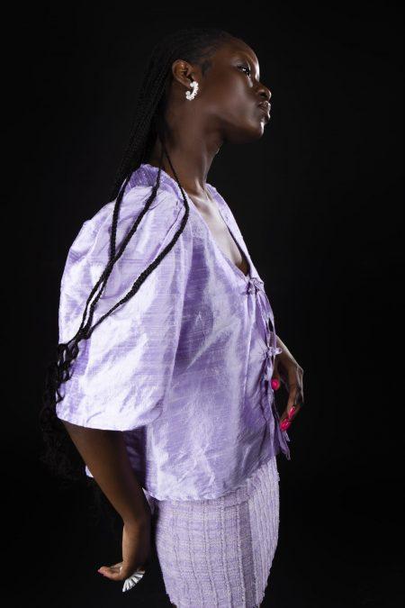 AGNÈS lilac iridescent wild silk blouse - MaisonCléo