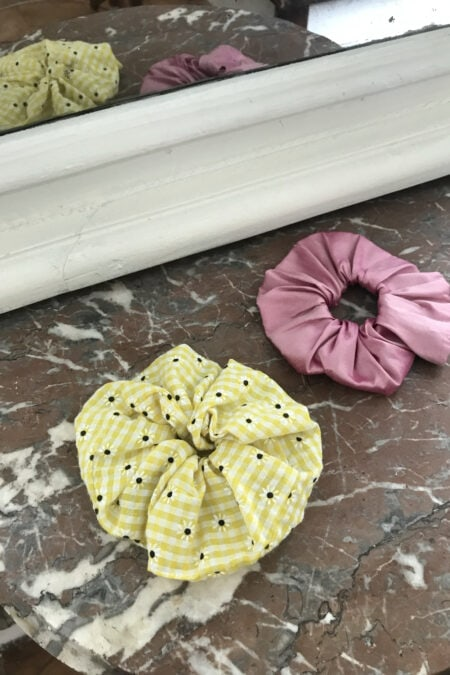 Pink wild silk and yellow gingham flowers pack of two scrunchies - MaisonCléo
