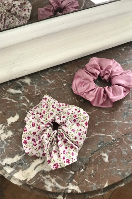 Pink wild silk and purple fuschia flowers pack of two scrunchies - MaisonCléo