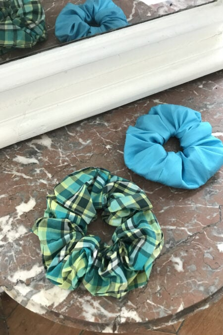 Green checks cotton and blue wild silk pack of two scrunchies - MaisonCléo