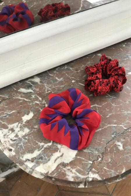 Lot de deux chouchous rouges en soie - MaisonCléo