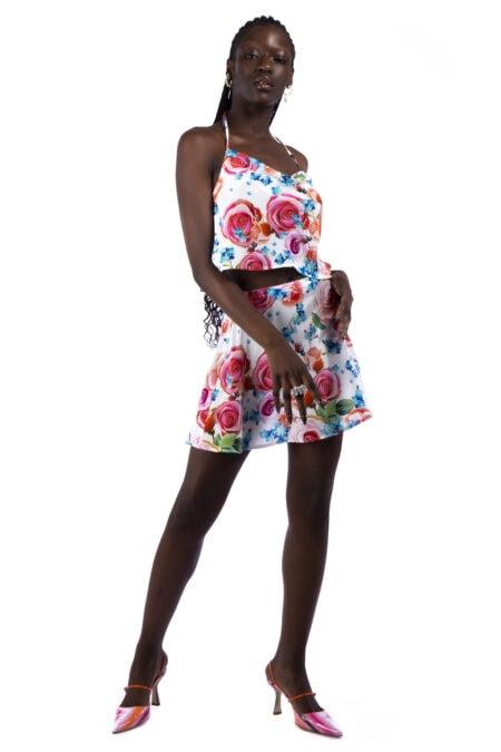 READY TO SHIP - LILY flowers skater sateen silk skirt / Selfridges - MaisonCléo