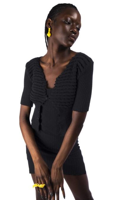 Gilet noir tricoté en coton organique LORE - MaisonCléo