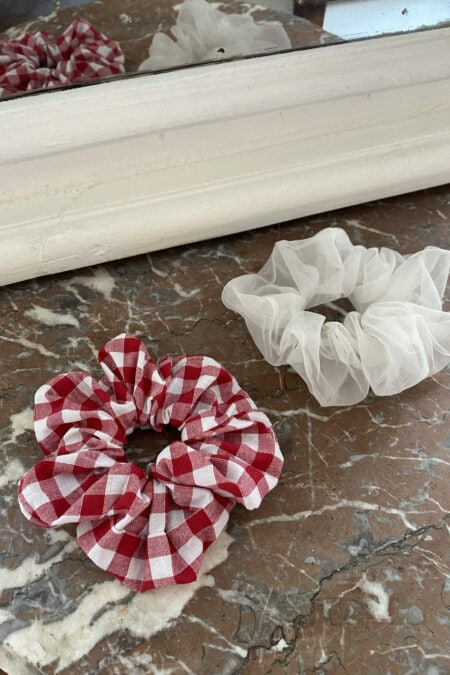 Gingham red and white organza pack of two scrunchies - MaisonCléo