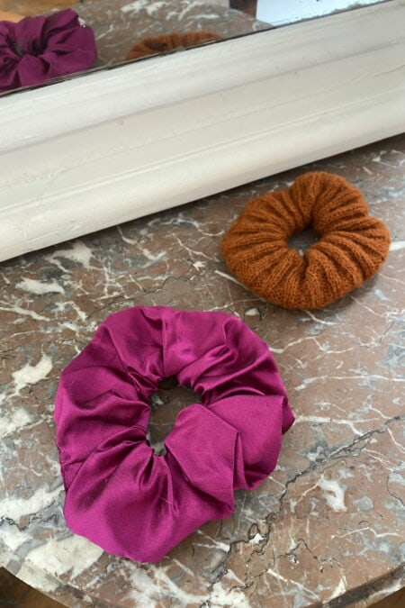Fuchsia wild silk and brown wool pack of two scrunchies - MaisonCléo