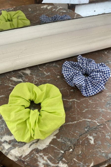 Gingham blue and neon green cotton pack of two scrunchies - MaisonCléo