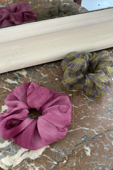 Pink silk and purple/yellow organza pack of two scrunchies - MaisonCléo