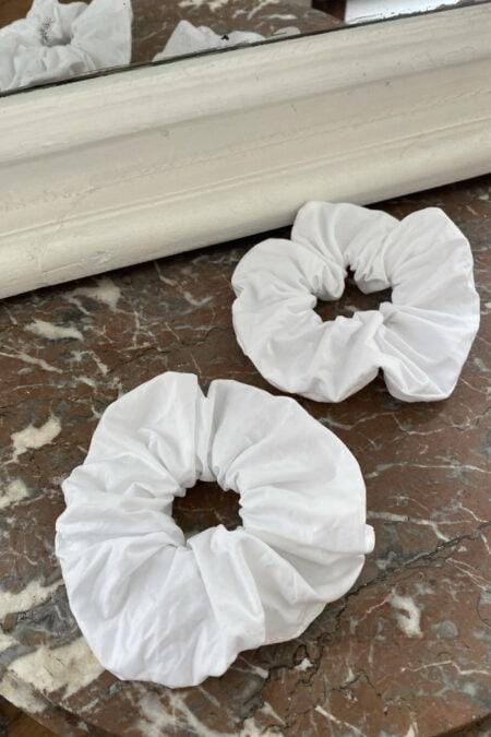 Lot de deux chouchous en coton blanc - MaisonCléo