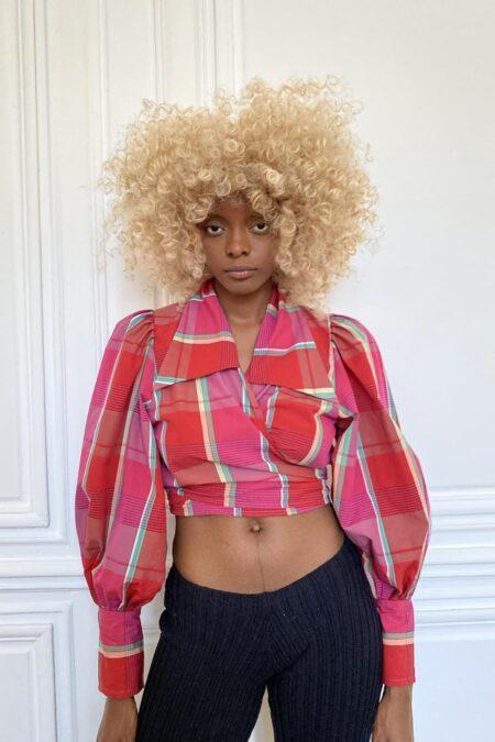 JULIE multi red big checks cotton blouse - MaisonCléo