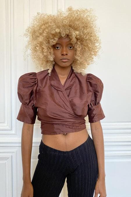 ANITA glossy brown wild silk blouse - MaisonCléo