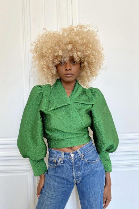 Blouse verte en soie texturée couture Julie - MaisonCléo