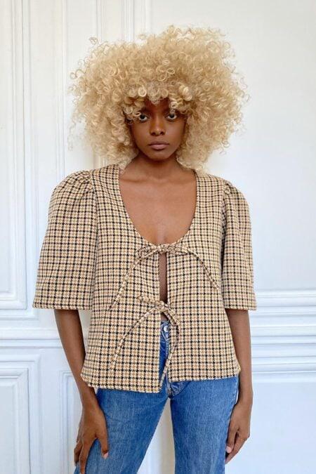Blouse AGNES en coton épais à carreaux - MaisonCléo