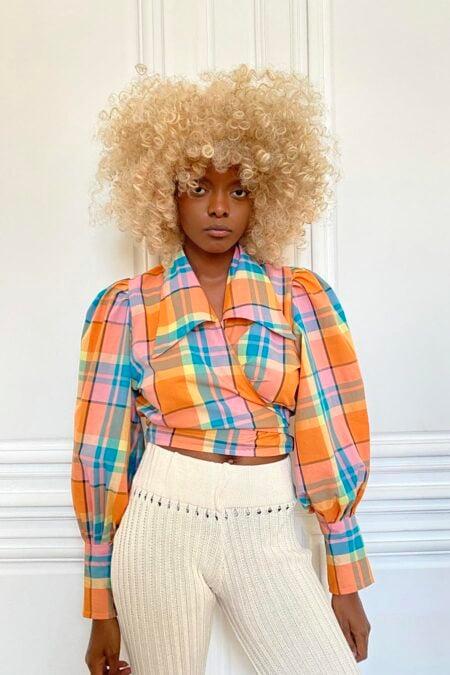 JULIE orange big checks cotton blouse - MaisonCléo