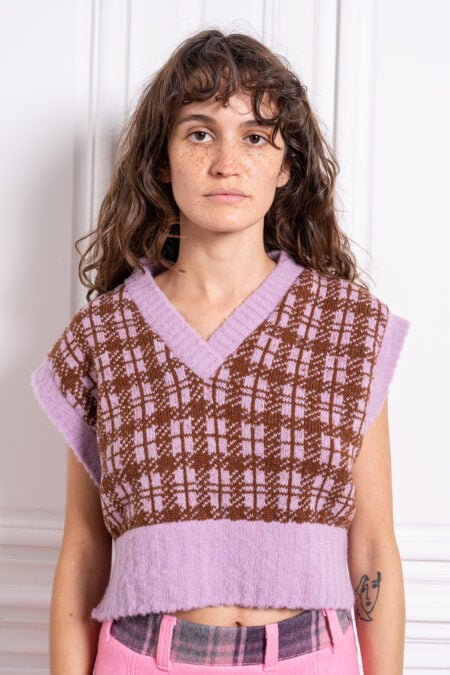 BELLA lilac and chocolate knitted oversize wool vest - MaisonCléo