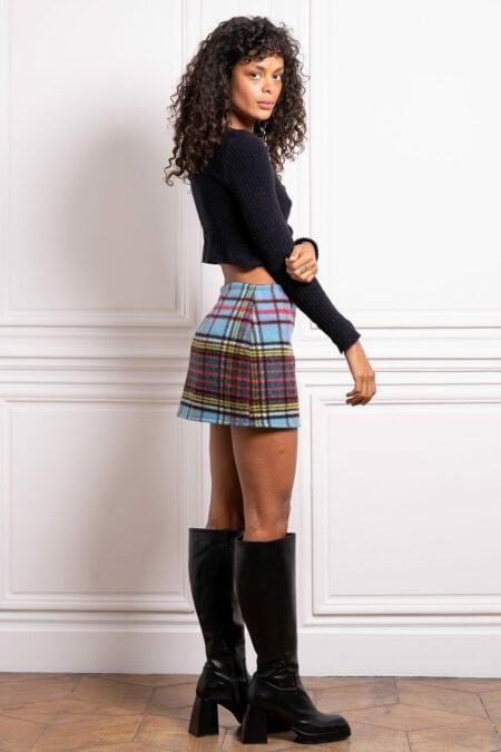 Mini jupe en laine à carreaux bleus JADE - MaisonCléo